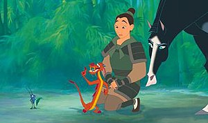 Mulan (1998 film) - From left to right: Cri-Kee; Mushu; Fa Mulan; Kahn