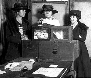 Politics of New York City - Three suffragists casting votes in New York City around 1918.
