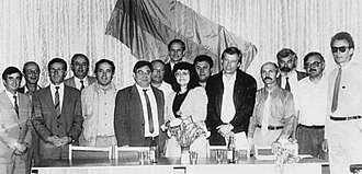 Pridnestrovian Moldavian Soviet Socialist Republic - The First Congress of People's Deputies from all levels of Transnistrian Government. Present, after Viktor Emel'ianov (third from the left), are Grigore Maracuta, P. Skripnichenko, V. Voevodin, Boris Shtefan, B. Akulov, Anna Volkova, P. Denisenko, V. Ryliakov, V. Bodnar,G. Popov, V. Zagriadskii, and P. Zalozhkov.