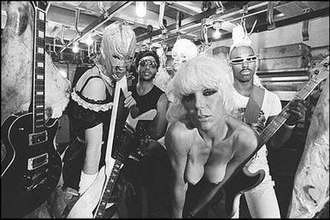 Plasmatics - Plasmatics making a music video in New York City in 1980. From left to right: Richie Stotts, Stu Deutsch, Wes Beech, Wendy O. Williams and Jean Beauvoir.