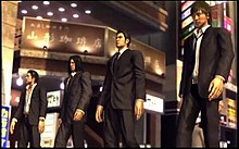 Game screenshot of four young men in suits