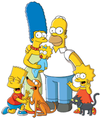 Simpson family - The Simpson family. From left to right: Bart, Santa's Little Helper, Marge, Maggie, Homer, Lisa, and Snowball II.