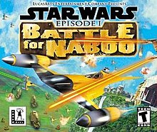 A futuristic, yellow aircraft is attacked during an aerial battle in blue skies above a green planet; the game's logo appears above the craft