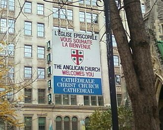 Anglican Church of Canada - A bilingual example of the classic welcome sign displayed outside Anglican churches throughout Canada, at Christ Church Cathedral in Montreal