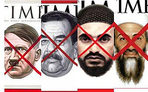 Time (magazine) - Time red X covers: from left to right, Adolf Hitler, Saddam Hussein, Abu Musab al-Zarqawi, and Osama bin Laden