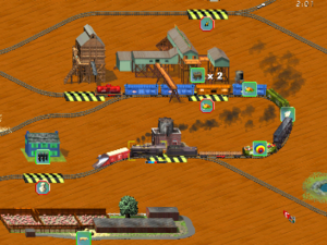 3D Ultra Lionel Traintown - A view of gameplay on Traintown, on the living room setting