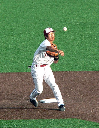 Troy Trojans - Former Trojans baseball player Shohei Fujita attempting to turn a double play in a baseball game in March 2008