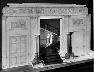 Grand Staircase (White House) - A maquette made by Lorenzo Winslow showing entrance to the Grand Staircase from the Entrance Hall. In the final design the bottom stairs did not project into the Entrance Hall.