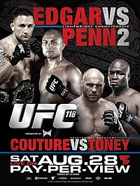 A poster or logo for UFC 118: Edgar vs. Penn 2.