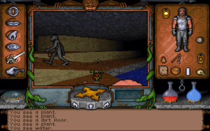 Ultima Underworld: The Stygian Abyss - A goblin walks up an inclined surface. The player has selected the Fight icon, causing the player character's current weapon, a fist, to appear at the bottom of the screen.