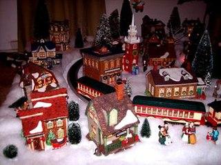 Christmas village decorative, miniature-scale village