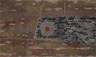<i>Warlugulong</i> Acrylic on canvas painting by Indigenous Australian artist Clifford Possum Tjapaltjarri