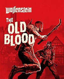 "The game's cover art. The text ""wolfenstein"" is in the top right, with the text ""THE OLD BLOOD"" written underneath it. Behind the text is a man, preparing to use a pipe to hit an enemy."