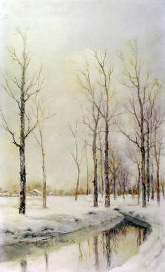 Zhu Shijie (painter) - Timely Snow(1980) Zhu Shijie 65×40cm Oil on Canvas