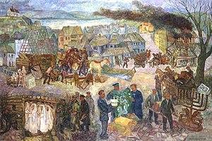 "Chaim Goldberg - The Dismantling, oil on canvas 40"" x 60"" 1991"