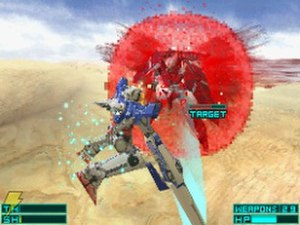 Mobile Suit Gundam 00 (video game) - Exia facing Throne Drei.