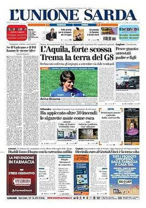 L'Unione Sarda - Image: 20090704 lunionesarda frontpage