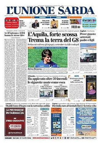 L'Unione Sarda - Front page, 4 July 2009