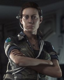 Screenshot of Amanda Ripley wearing a headset