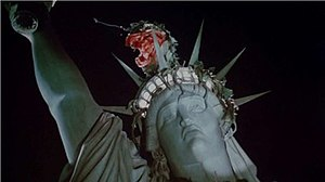 Little Shop of Horrors (film) - Audrey II on top of the Statue of Liberty in the film's planned ending, shown here in its unfinished state as taken from an early-stage black-and-white workprint. The visual effects were completed for the Director's Cut of the film.
