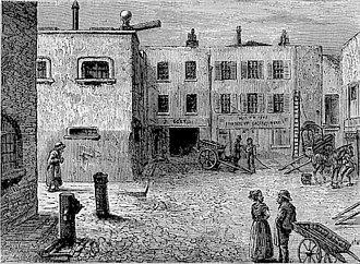 Bleeding Heart Yard - An image of Bleeding Heart Yard from Walter Thornbury's Old and New London, 1873-8.