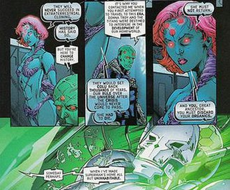 Brainiac (character) - Brainiac with his descendant Brainiac 8, as they discuss his use of organics; art by Matthew Clark