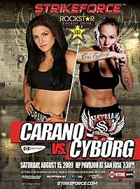 A poster or logo for Strikeforce: Carano vs. Cyborg.
