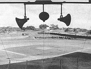 Clark Field (1928) - Clark Field, with the famous goat path and hill visible in the outfield. LBJ Library can be seen in the background, to the east/southeast. Memorial Stadium is just out of frame, located behind the right field wall.