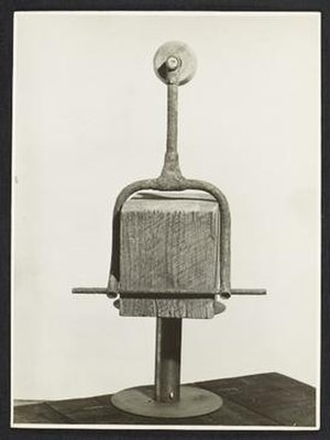 Louise Nevelson - Clown tight rope walker by Louise Nevelson, 1942? / John D. Schiff, photographer. Louise Nevelson papers, Archives of American Art, Smithsonian Institution.