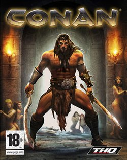 "A muscular long-haired man stands in front of a passageway. Naked except for a loincloth, boots, and bracers, he holds a sword in each hand. Behind him are five very scantily-clad women, looking at him. The word ""Conan"" is emblazoned at the top in capital letters."