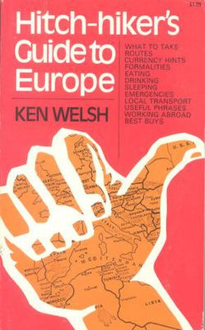 Hitch-hiker's Guide to Europe - The front cover of the 1972 first US edition of the Hitch-hiker's Guide to Europe.