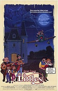 "In the light of the full moon, an old-looking man casts a fearful gaze above a stately mansion, while four tiny creatures—Lucy, her brother Tom, their Grandpa, and their cousin Dinky—are aboard a small plane. Those creatures, called the Littles, are also seen holding a key to the left of the title; on the opposite side, Mr. and Mrs. Little stand next to a wavy box bearing the tagline: ""At last, your favorite little characters on the big screen!"" At the lower portion of the credit bylines, composer Haim Saban's first name is misspelled as ""Hiam""."
