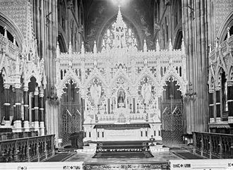 St Patrick's Cathedral, Armagh (Roman Catholic) - Hague's Rood Screen of Carrara Marble sits behind Ashlin's High Altar of 1904