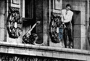 John William Warde - John William Warde on the ledge of the Gotham Hotel, as his sister pleads with him to come in.