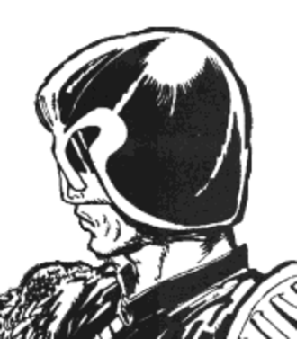 Judge Dredd - Judge Dredd from his first published story, as drawn by Mike McMahon in 1977. The character's appearance has remained essentially unchanged ever since, except for a more prominent jawline.
