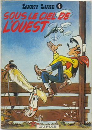 Lucky Luke - Sous le Ciel de l'Ouest (1952), cover of an early softcovered issue.