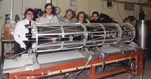 MSSTA - The MSSTA I payload, May 1991, during pre-launch assembly. Team members from left to right are Richard Hoover and graduate students Joakim Lindblom, Craig DeForest, Maxwell J. Allen, and Ray H. O'Neal are pictured behind the payload. The team leader, Dr. Arthur B.C. Walker, Jr. is not pictured.