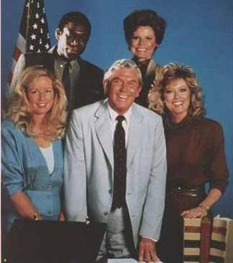 Matlock (TV series) - Cast of season 2, from left: (top) Kene Holliday, Julie Sommars; (bottom) Kari Lizer, Griffith, Nancy Stafford