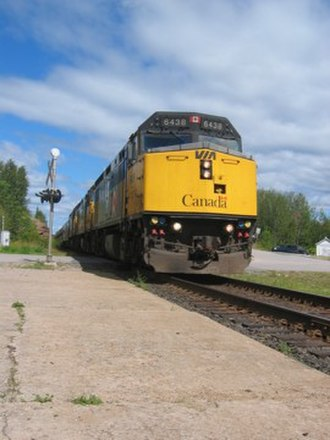 Minaki - The westbound Canadian, Via Rail's transcontinental train, speeds through Minaki