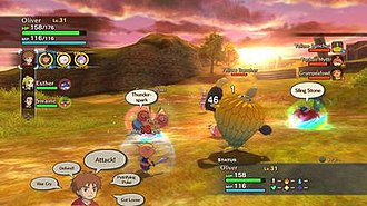 Ni no Kuni: Wrath of the White Witch - Players control Oliver, Esther and Swaine during battles, with the ability to access their familiars.