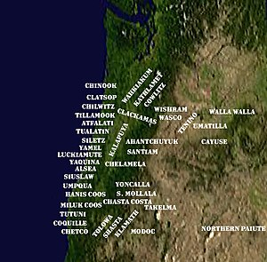 Native American peoples of Oregon - Approximate geographic locations of the First Nations of today's Oregon and southern Washington state