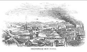 Phoenix Iron Works (Phoenixville, Pennsylvania) - Mid-19th-century engraving of the Phoenix Iron Works