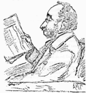 sketch of balding white man with side-whiskers, wearing pince-nez and reading a newspaper