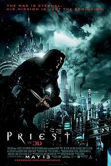 Paul Bettany character, wearing priestly garb and having a Christian cross tattooed on his face, stands against the background of a futuristic city.