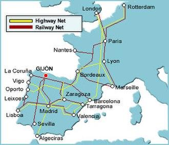 El Musel - Highway net and railway