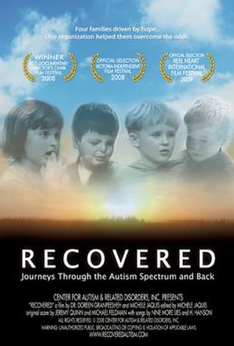 Recovered: Journeys Through the Autism Spectrum and Back - Image: Recovered Poster laurels RGB