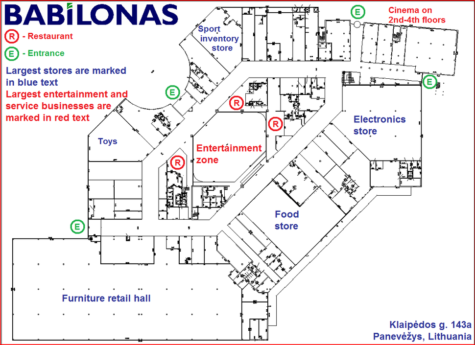 Shopping mall Babilonas layout