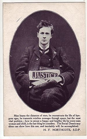 Justice (newspaper) - Socialist postcard depicting Justice.