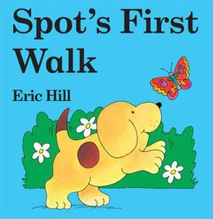 Spot (franchise) - Spot's First Walk book cover, featuring Spot himself, set in the Century Schoolbook Infant Bold font