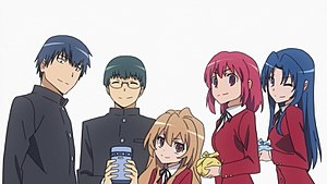 The main characters of Toradora! (from left to...